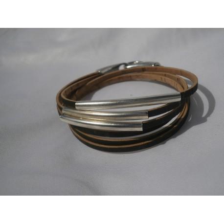 Bracelet double tour tubes acier