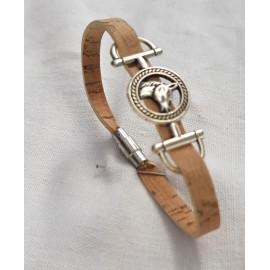 Bracelet cheval en liège et zamac