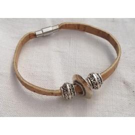 Bracelet liège perle plate