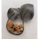 Broche feuilles et perles de liège