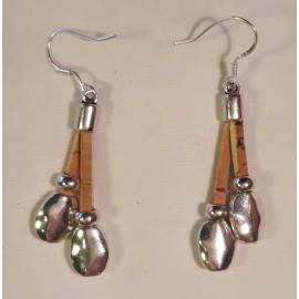 Boucles d'oreille liège et acier 32