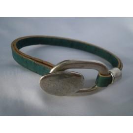 Bracelet liège fermoir métal T sécurisé ovale