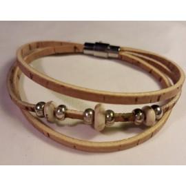 Bracelet triple perles blanches 2