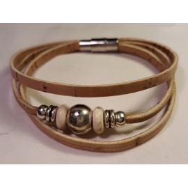 Bracelet triple perles blanches 3