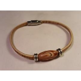 Bracelet simple en liège avec perle en bois 2