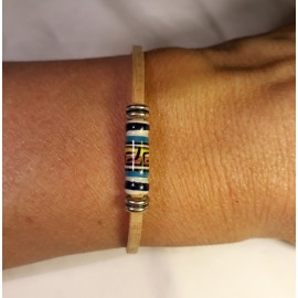 Bracelet simple en liège avec perles céramique 2