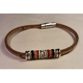 Bracelet simple en liège avec perles céramique 1