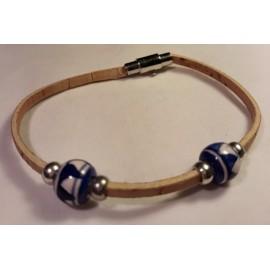 Bracelet simple en liège avec perles céramique 4