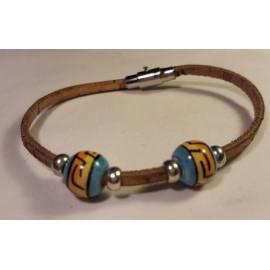Bracelet simple en liège avec perles céramique 5