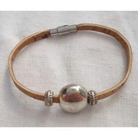 Bracelet liège perle plate 2