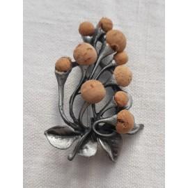 Broche florale métal et liège