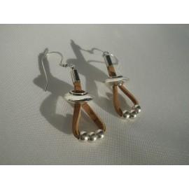 Boucles d'oreille liège et acier 7