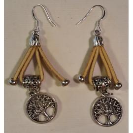 Boucles d'oreille liège et acier 24