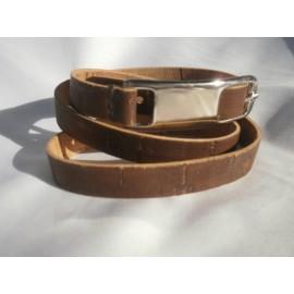 Bracelet double tour fermoir ceinture et cordon liège