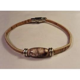 Bracelet simple en liège avec perle en bois1