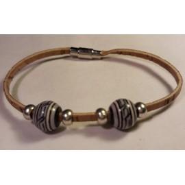 Bracelet simple en liège avec perles céramique 6